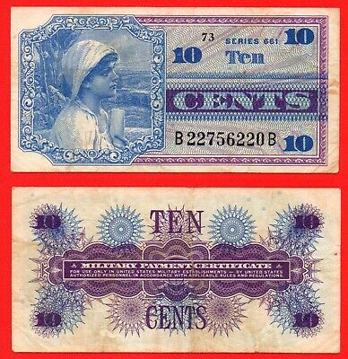 United States military payment certificate 10 cent banknote