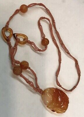 ANTIQUE Deco Chinese HAND CARVED CARNELIAN PLUM on Hand Knotted SILK Necklace