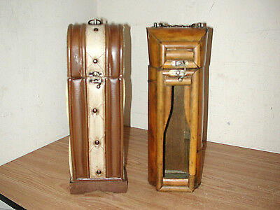 Lot Of 2 Single Wine Bottle Wooden Storage Boxes With Metal Handle And Latch