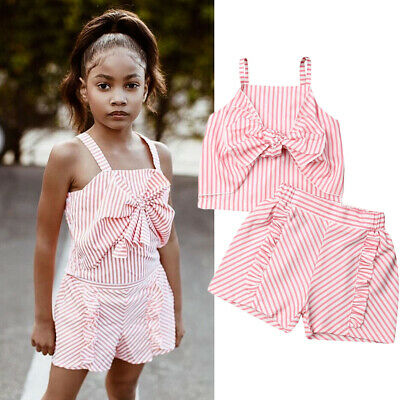 Toddler Kids Baby Girl Bow Tops T-Shirt Shorts Pants Outfits Clothes Summer Set