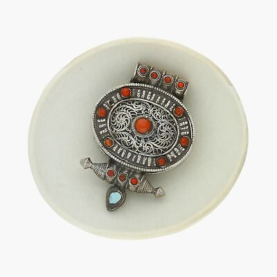 vintage / sterling silver tibetan turquoise coral filigree (opens) pendant (26g)