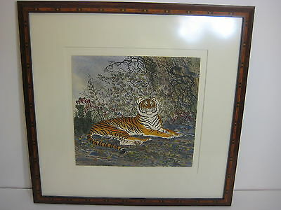 "Tiger Original Watercolor Painting, Framed, Signed by Artist, 9 1/4"" x 9"" Image"