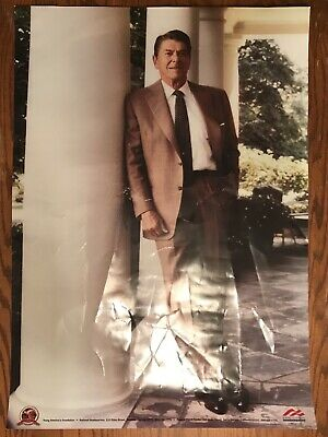 """President Ronald Reagan Poster 33x23"""" Brown Suit Young America's **See Note**"""