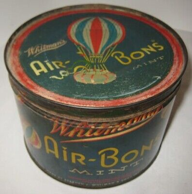 Antique Candy Tin With Striped Mint  Hot Air Balloons 1950 Whitman & Sons