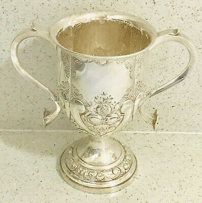 Antique English sterling silver twin handles trophy cup , c1902, Sheffield