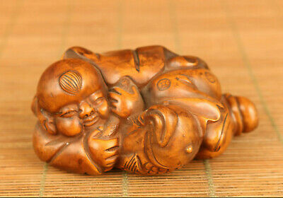 Asian old boxwood Handcarved child fish statue figure netsuke table decoration