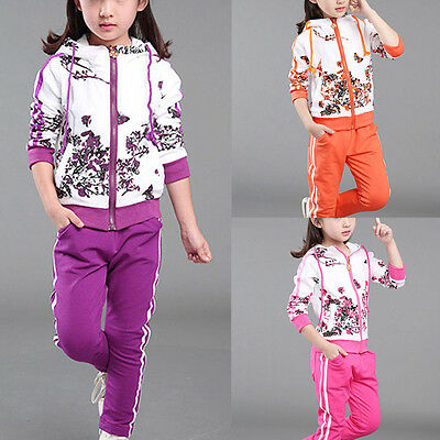 New Girl Clothes Jacket Kids Clothing Girl Tracksuit Sport Suit Hoodies+Pants O