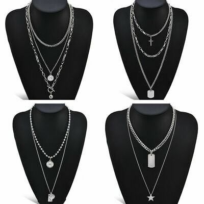 Hip Hop Necklace Multi-Layer Stainless Steel Chain Choker Silver Party Jewelry
