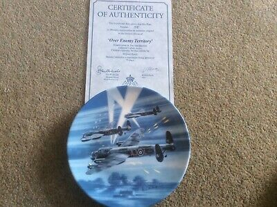 """Royal Worcester, Collectors Wall Plate, Dambusters, """"Over Enemy Territory"""" boxed"""