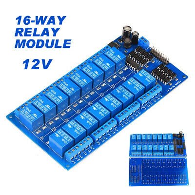 12V 16 Channel Relay Module Board w Optocoupler Protection LM2576 Power PIC