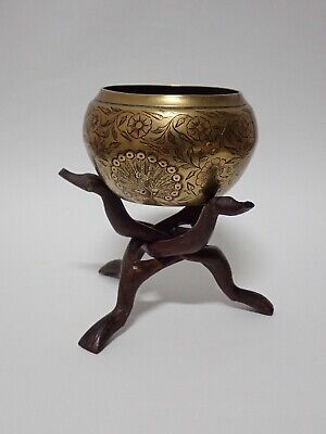 An Antique Engraved Brass Bowl - Heavy Weighs 500gms On Hand craved Wooden Stand