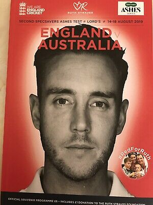 Ashes Cricket 2019 - England v Australia - 2nd Test @ Lords Official Programme