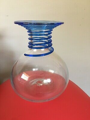 VINTAGE BLENKO ART GLASS Applied BLUE SPIRAL VASE #8318 Don Shepherd Design EUC