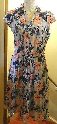 Tu Vintage Look Long Floral Short Sleeve Button Front Dress+ Belt Size 16 Bnwot