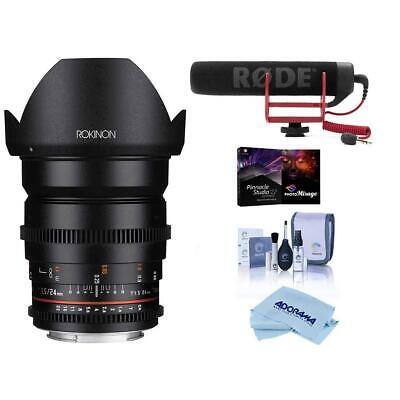 Rokinon 24mm T1.5 Cine DS Lens for Canon EF Mount - With W/Rode Mic And More