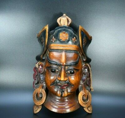 Very Old Tharu Nepal Tantrick shaman's mask Antique Wooden Cultural Jhakri Mask