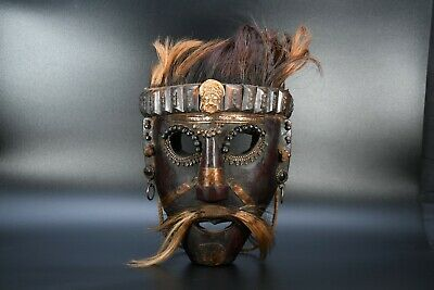 Wooden Very Old Tharu Nepal Tantrik shaman's mask Antique Cultural Jhakri Mask