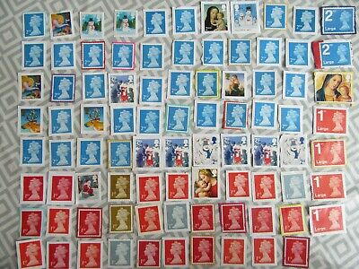87 Unfranked 1st and 2nd class Stamps Mint Large GB FV £58.23 Job lot Unused