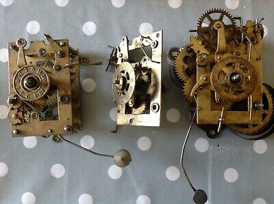 Antique Alarm Clock Movements Chiming To Restore Spare Parts Plates 50x80mm