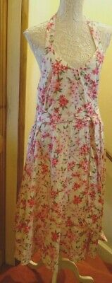 Looking Glam White Floral Vintage 50,S Rockabilly Halterneck Dress Size 16 Bnwt