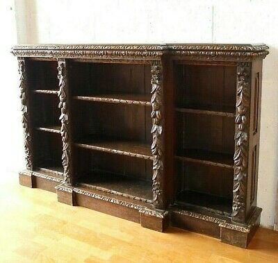 Antique Victorian Solid Oak Carved Breakfront Bookcase