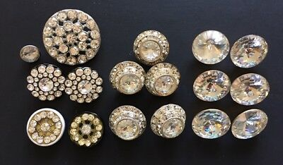 """2 Vintage Med Jet Black Clear Rhinestone Abstract Czech Shank Buttons Almost 1/"""""""