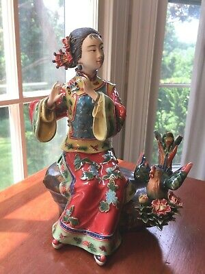 """Beautiful Chinese Porcelain Shiwan Woman Lady with Bird Figurine SIGNED 9 1/4"""""""
