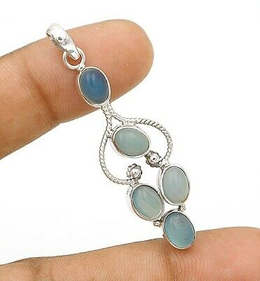 Charming Design Chalcedony 925 Solid Sterling Silver Pendant Jewelry, C12-3