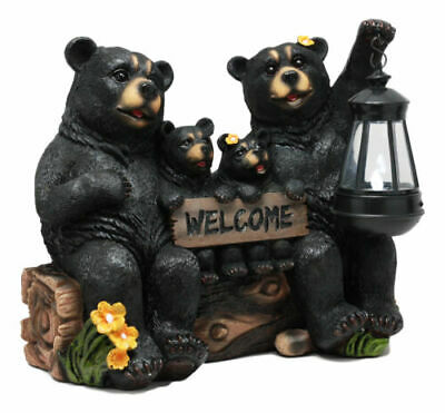 """Resin Black Bear Family Welcome Sign Statue With Solar LED Light Decor 13""""L"""