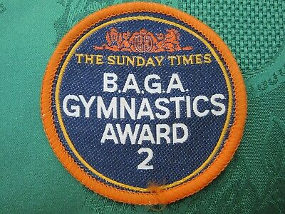 Vtg Sunday Times BAGA Gymnastics Award 2 Sport Fabric Embroidered Sew-on Patch