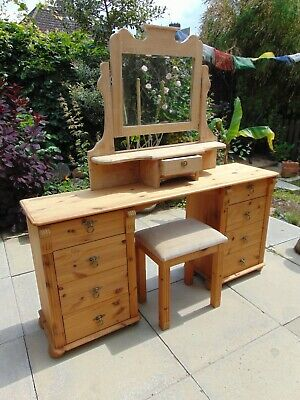Solid pine 1980's carved dressing table with mirror and stool