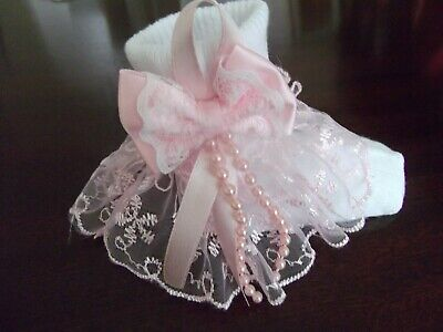 Hand finished Baby girls white Spanish socks size 6-12mths with pink lace bow +