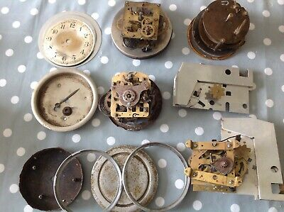 Antique Clock Movements To Restore Incl Waterbury USA Spare Parts