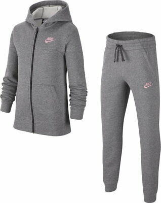 Nike Junior Girls Fleece Sportswear Lifestyle Tracksuit Track suit Lt Grey Pink