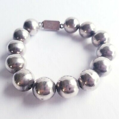 Vintage Sterling Silver Mexico Taxco Silver Ball Bead Link Bracelet - Size 8 1/4