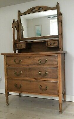 Antique Victorian satin walnut dressing table with mirror