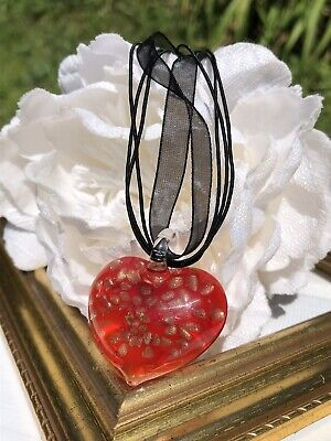 Vintage Murano Red Heart Art Glass Gold Foil Pendant Necklace