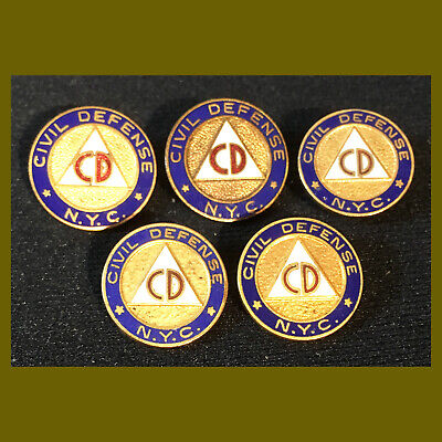 Lot of FIVE (5) 1950s COLD WAR ERA Civil Defense New York ENAMEL LAPEL PIN wwii