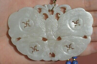 1900's Chinese White Jade Carved Moth Pendant Plaque Lapis Lazuli Bead Necklace