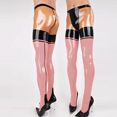 New Latex Pants Trouser 100% Rubber Pink with Transparent Crotch Hip Man S-XXL