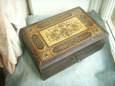 Old Antique Victorian Wooden Decorated Workbox Box c.1880 For Repair as is
