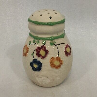 Vintage SUGAR Shaker Muffineer Made in JAPAN Ceramic Basketweave FLORAL