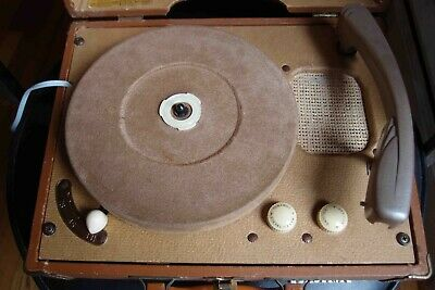 VINTAGE 1950s RCA VICTOR VICTROLA SUITCASE PHONOGRAPH RECORD PLAYER 6-EMP-2B