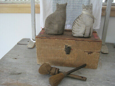 Old Vintage Primitive Paper Covered Wood Box with Lid Tray Inside Country Find