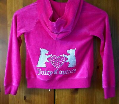 JUICY COUTURE California GIRL'S Pink Velour Tracksuit Top Hoodie Size 6 Years