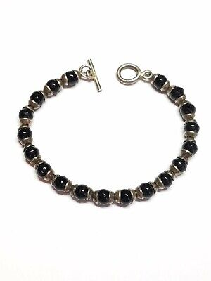 """Vintage 925 Sterling Silver Capped Onyx Bead 7"""" Toggle Clasp Bracelet"""