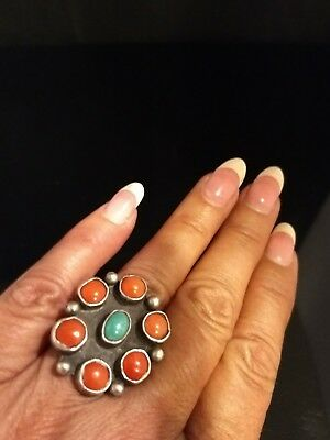 Size 6.5 Old Pawn Estate Coral Turquoise Sterling Silver Cluster Ring
