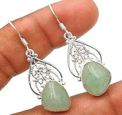 Charming Design Faceted Aqua Chalcedony 925 Sterling Silver Earrings H9-5