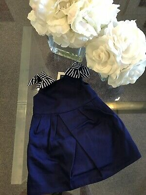 Janie & Jack Girl's Blue White Bow Dress size 12-18 months NWT Orig.$69