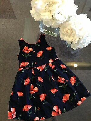 Janie & Jack Girls' Blue Red Floral Dress size 4 4T Orig.$89